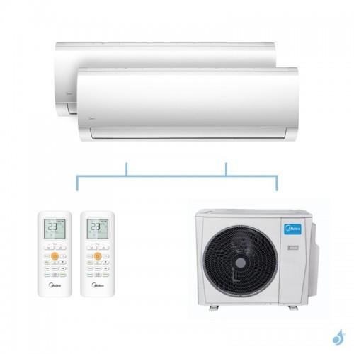 MIDEA climatisation bi split murale Blanc gaz R32 MSMABU-09HRDN8 + MSMABU-12HRDN8 + M30F-21HFN8-Q 6,15kW A++