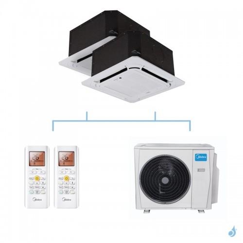 MIDEA climatisation bi split cassette compacte 4 voies gaz R32 MCA3I-09FNXD0 + MCA3U-12FNXD0 + M40E-28HFN8-Q 8,2kW A++