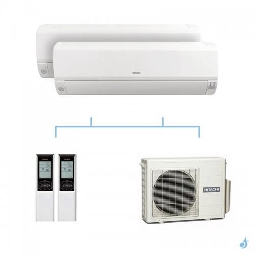 HITACHI climatisation bi split murale Mokai gaz R32 RAK-15QPE + RAK-18RPE + RAM-33NP2E 3,3kW A+++