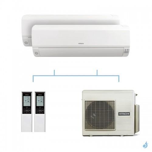 HITACHI climatisation bi split murale Mokai gaz R32 RAK-18RPE + RAK-18RPE + RAM-53NP2E 5,3kW A+++