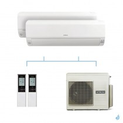 HITACHI climatisation bi split murale Mokai gaz R32 RAK-25RPE + RAK-35RPE + RAM-53NP2E 5,3kW A+++