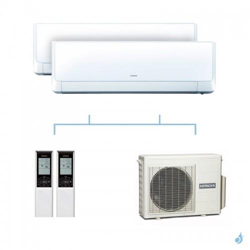 HITACHI climatisation bi split murale Takai gaz R32 RAK-18QXE + RAK-18QXE + RAM-40NP2E 4kW A+++
