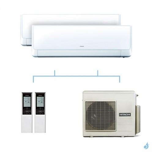 HITACHI climatisation bi split murale Takai gaz R32 RAK-25RXE + RAK-25RXE + RAM-53NP3E 5,3kW A+++