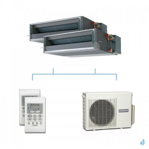 HITACHI climatisation bi split gainable gaz R32 RAD-18QPE + RAD-18QPE + RAM-40NP2E 4kW A+++