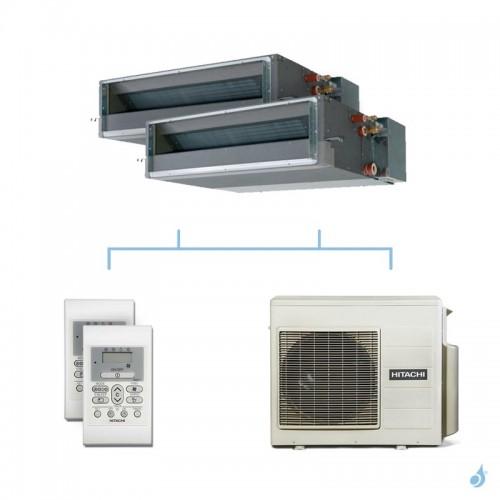 HITACHI climatisation bi split gainable gaz R32 RAD-25RPE + RAD-25RPE + RAM-53NP2E 5,3kW A+++