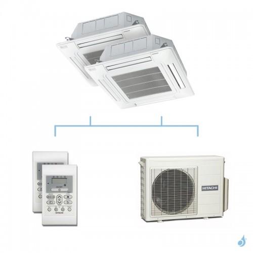 HITACHI climatisation bi split cassette 600x600 gaz R32 RAI-25RPE + RAI-25RPE + RAM-40NP2E 4kW A+++