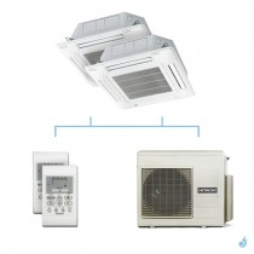 HITACHI climatisation bi split cassette 600x600 gaz R32 RAI-35RPE + RAI-35RPE + RAM-53NP3E 5,3kW A+++