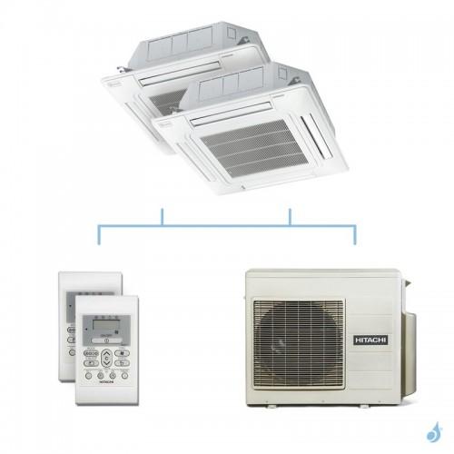 HITACHI climatisation bi split cassette 600x600 gaz R32 RAI-50RPE + RAI-50RPE + RAM-53NP3E 5,3kW A+++