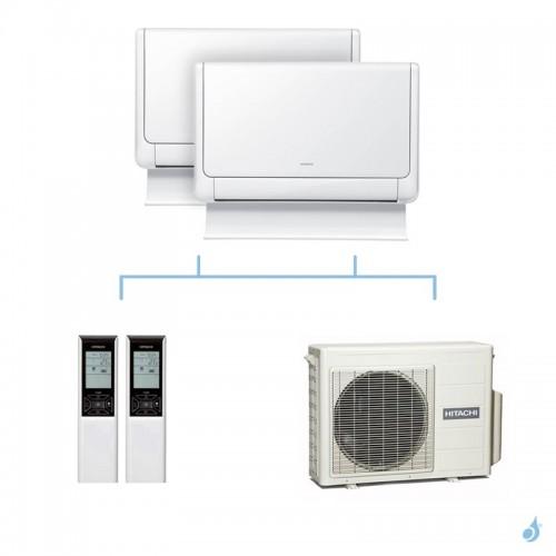 HITACHI climatisation bi split console Shirokuma gaz R32 RAF-25RXE + RAF-25RXE + RAM-40NP2E 4kW A+++