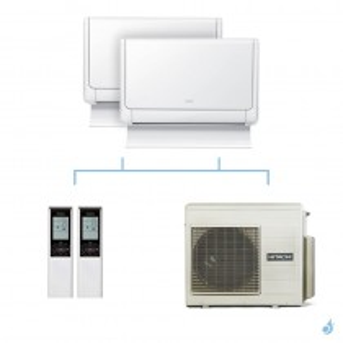 HITACHI climatisation bi split console Shirokuma gaz R32 RAF-25RXE + RAF-35RXE + RAM-70NP4E 7kW A++