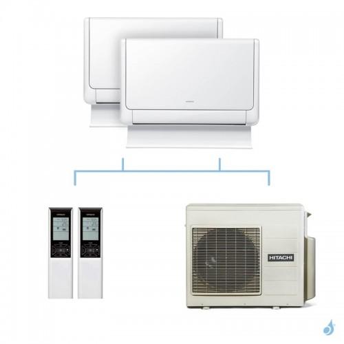 HITACHI climatisation bi split console Shirokuma gaz R32 RAF-25RXE + RAF-50RXE + RAM-70NP4E 7kW A++