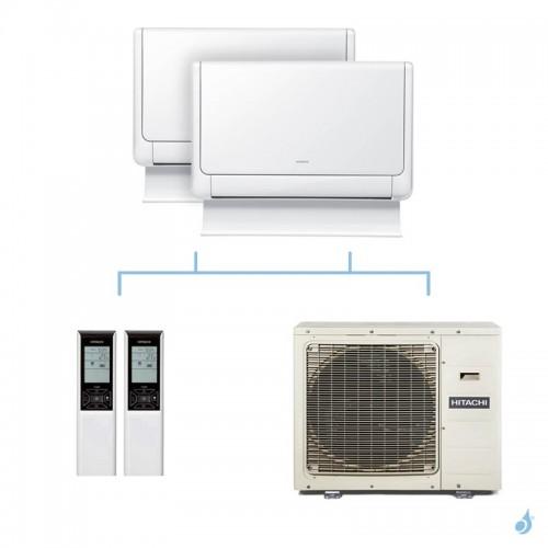HITACHI climatisation bi split console Shirokuma gaz R32 RAF-25RXE + RAF-50RXE + RAM-90NP5E 8,5kW A++