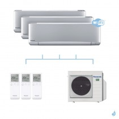 PANASONIC climatisation tri split mural Etherea Z Gris gaz R32 WiFi CS-XZ25VKEW x3 + CU-3Z68TBE 6,8kW A++