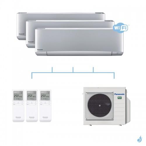 PANASONIC climatisation tri split mural Etherea Z Gris gaz R32 WiFi CS-XZ20VKEW x3 + CU-4Z68TBE 6,8kW A++