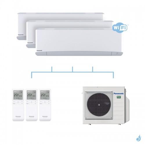 PANASONIC climatisation tri split mural Etherea Z Blanc gaz R32 WiFi CS-MZ16VKE x2 + CS-Z20VKEW  + CU-3Z52TBE 5,2kW A+++