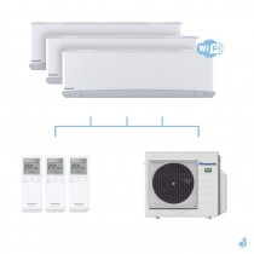 PANASONIC climatisation tri split mural Etherea Z Blanc gaz R32 WiFi CS-Z20VKEW x3  + CU-3Z52TBE 5,2kW A+++