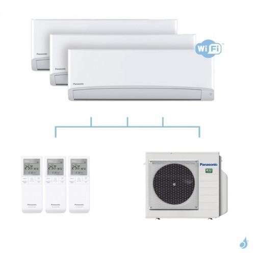 PANASONIC climatisation tri split mural ultra compact TZ gaz R32 WiFi CS-TZ20WKEW + CS-TZ25WKEW x2 + CU-3Z52TBE 5,2kW A+++