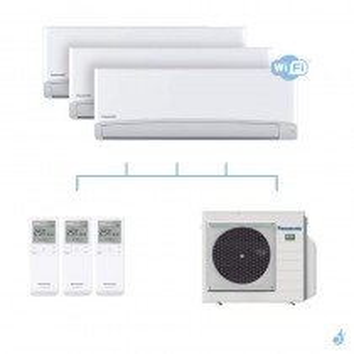 PANASONIC climatisation tri split mural ultra compact TZ gaz R32 WiFi CS-TZ20WKEW + TZ25WKEW + TZ35WKEW + CU-3Z52TBE 5,2kW A+++