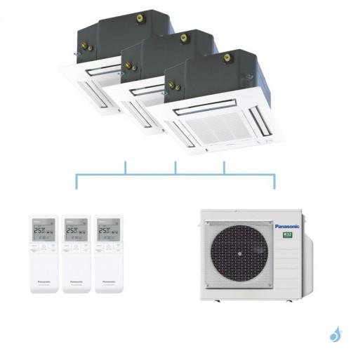 PANASONIC climatisation tri split cassette 4 voies 60x60 UB4 gaz R32 CS-MZ20UB4EA x2 + CS-Z25UB4EAW + CU-3Z52TBE 5,2kW A+++