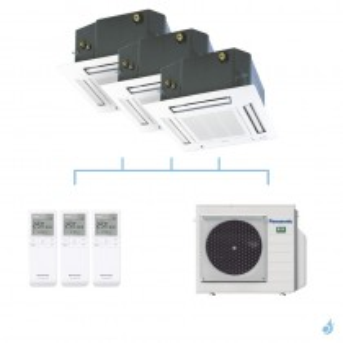PANASONIC climatisation tri split cassette 4 voies 60x60 UB4 gaz R32 CS-MZ20UB4EA x2 + CS-Z35UB4EAW + CU-3Z52TBE 5,2kW A+++