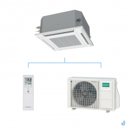 GENERAL climatisation mono split cassette 600 x 600 gaz R32 KVLA performance 4,3kW AUXG14KVLA + AOHG14KBTB A++