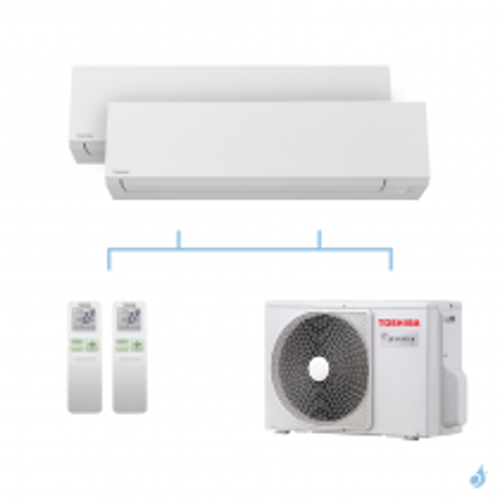 TOSHIBA climatisation bi split mural Shorai Edge + R32 4kW RAS-B07J2KVSG-E + RAS-B07J2KVSG-E + RAS-2M14U2AVG-E A++
