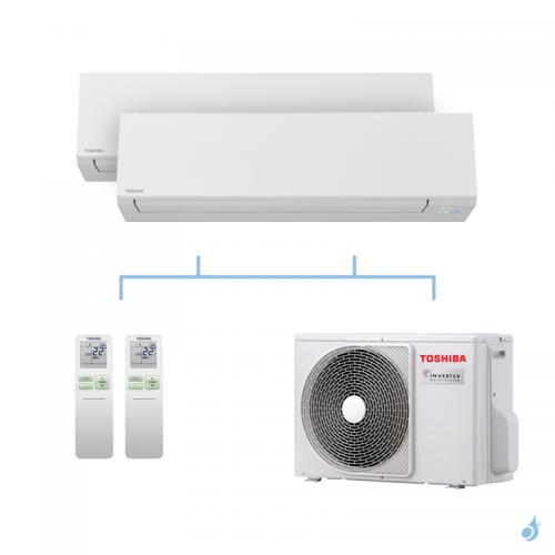 TOSHIBA climatisation bi split mural Shorai Edge + R32 4kW RAS-B13J2KVSG-E + RAS-B13J2KVSG-E + RAS-2M14U2AVG-E A++