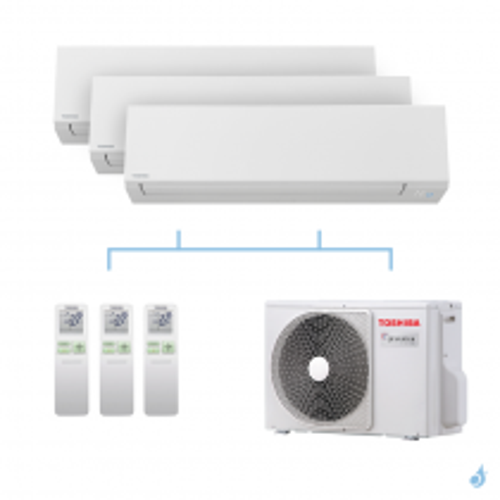 TOSHIBA climatisation Tri splits Shorai + R32 5,2kW RAS-M05J2KVSG-E + RAS-B07J2KVSG-E + RAS-B07J2KVSG-E + RAS-3M18U2AVG-E A++
