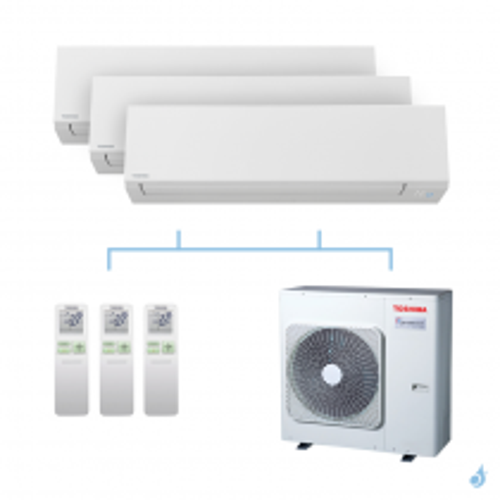TOSHIBA climatisation Tri splits Shorai + R32 7,5kW RAS-M05J2KVSG-E + RAS-M05J2KVSG-E + RAS-B13J2KVSG-E + RAS-3M26U2AVG-E A++