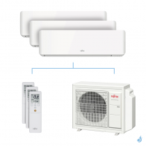 Climatisation tri-split FUJITSU KMCC 5.4kW taille 2.5 + 2.5 + 3.5 - ASYG09/09/12KMCC + AOYG18KBTA3
