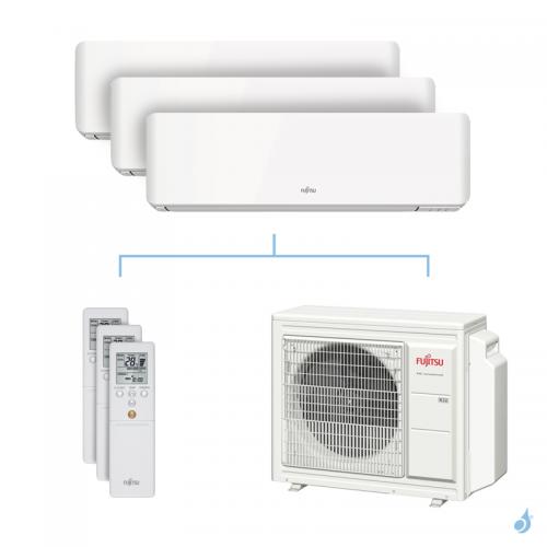 Climatisation tri-split FUJITSU KMCC 6.8kW taille 2.5 + 2.5 + 4 - ASYG09/09/14KMCC + AOYG24KBTA3