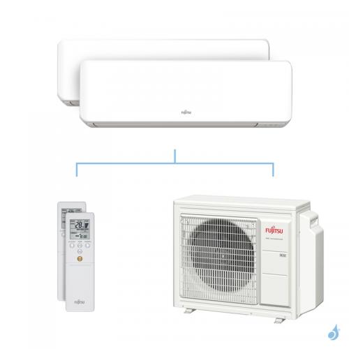 Climatisation bi-split FUJITSU KMCC 6.8kW taille 2.5 + 2.5 - ASYG09/09KMCC + AOYG24KBTA3