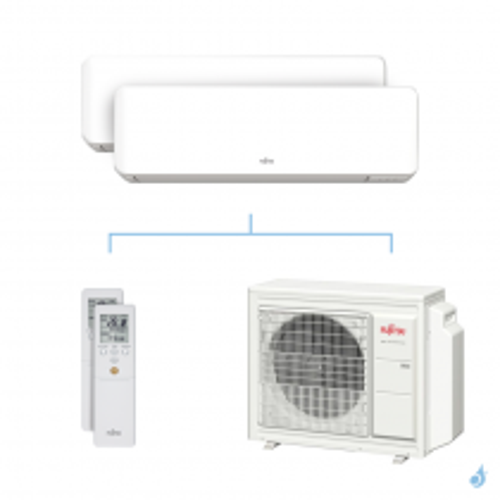 Climatisation bi-split FUJITSU KMCC 6.8kW taille 3.5 + 3.5 - ASYG12/12KMCC + AOYG24KBTA3