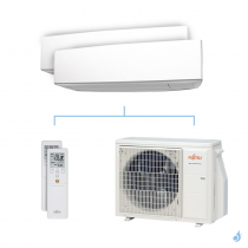 Climatisation bi-split FUJITSU KETA 5kW taille 3.5 + 3.5 - ASYG12/12KETA + AOYG18KBTA2