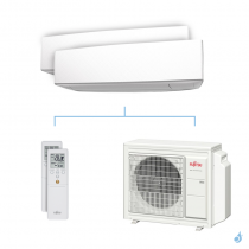 Climatisation bi-split FUJITSU KETA 5.4kW taille 2.5 + 3.5 - ASYG09/12KETA + AOYG18KBTA3