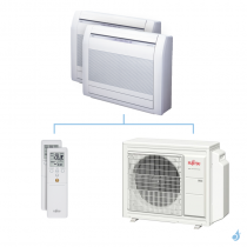 Climatisation bi-split FUJITSU Console KVCA 5.4kW taille 3.5 + 3.5 - AGYG12/12KVCA + AOYG18KBTA3