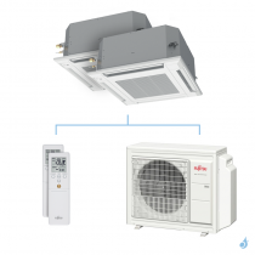 Climatisation bi-split FUJITSU cassette KVLA 5.4kW taille 3.5 + 4 - AUXG12/14KVLA + AOYG18KBTA3