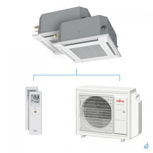Climatisation bi-split FUJITSU cassette KVLA 5.4kW taille 4 + 4 - AUXG14/14KVLA + AOYG18KBTA3
