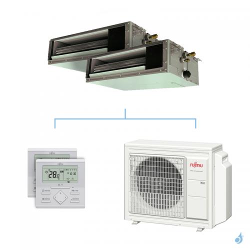 Climatisation bi-split FUJITSU gainable KSLAP 6.8kW taille 2 + 3.5 - ARXG07/12KSLAP + AOYG24KBTA3