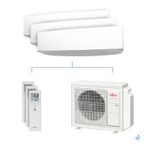 Climatisation tri-split FUJITSU KETA 6.8kW taille 2 + 2 + 4 - ASYG07/07/12KETA + AOYG24KBTA3