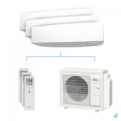 Climatisation tri-split FUJITSU KETA 6.8kW taille 2.5 + 2.5 + 3.5 - ASYG09/09/12KETA + AOYG24KBTA3