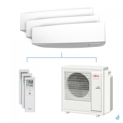 Climatisation tri-split FUJITSU KETA 8kW taille 2 + 2.5 + 3.5 - ASYG07/09/12KETA + AOYG30KBTA4