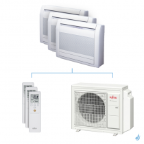 Climatisation tri-split FUJITSU Console KVCA 5.4kW taille 2.5 + 2.5 + 2.5 - AGYG09/09/09KVCA + AOYG18KBTA3