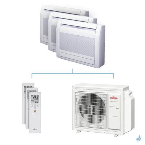 Climatisation tri-split FUJITSU Console KVCA 6.8kW taille 3.5 + 3.5 + 3.5 - AGYG12/12/12KVCA + AOYG24KBTA3
