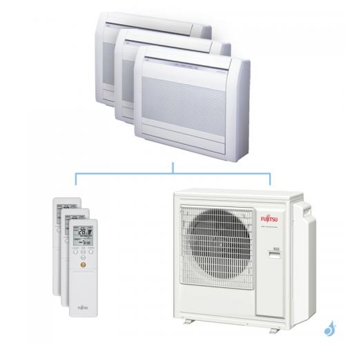 Climatisation tri-split FUJITSU Console KVCA 8kW taille 3.5 + 3.5 + 3.5 - AGYG12/12/12KVCA + AOYG30KBTA4