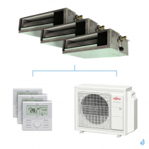 Climatisation tri-split FUJITSU gainable KSLAP 5.4kW taille 2 + 2.5 + 2.5 - ARXG07/09/09KSLAP + AOYG18KBTA3