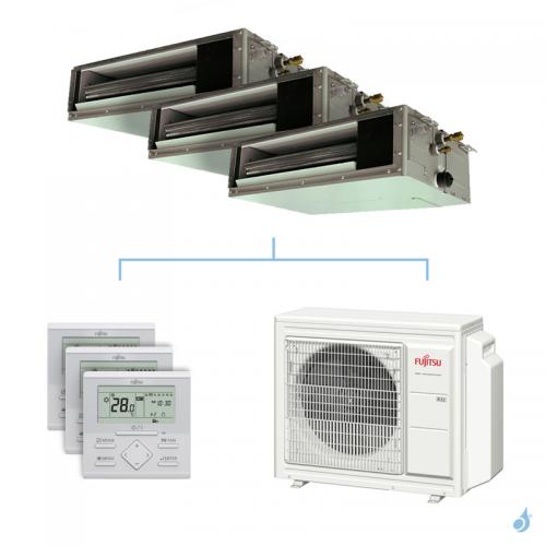 Climatisation tri-split FUJITSU gainable KSLAP 6.8kW taille 2 + 2.5 + 5 - ARXG07/09/18KSLAP + AOYG24KBTA3