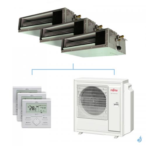 Climatisation tri-split FUJITSU gainable KSLAP 8kW taille 2 + 2 + 4 - ARXG07/07/14KSLAP + AOYG30KBTA4