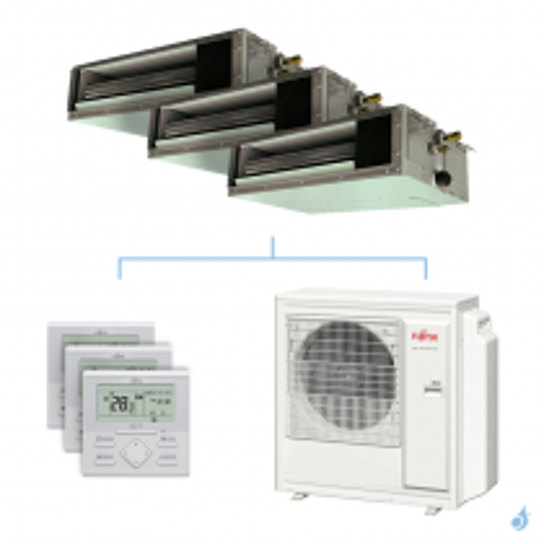 Climatisation tri-split FUJITSU gainable KSLAP 8kW taille 2 + 2 + 5 - ARXG07/07/18KSLAP + AOYG30KBTA4