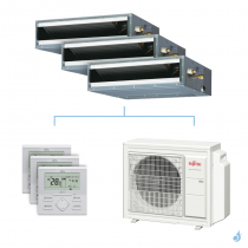 Climatisation tri-split FUJITSU gainable KLLAP 6.8kW taille 2 + 2.5 + 3.5 - ARXG07/09/12KLLAP + AOYG24KBTA3